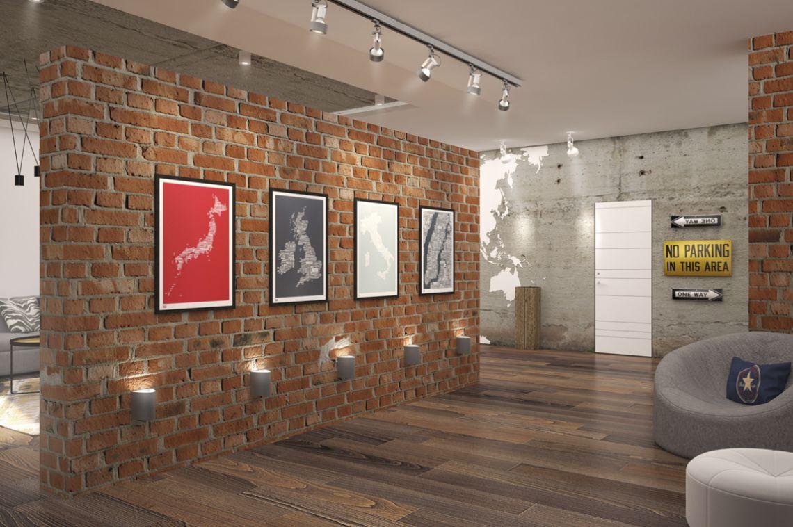 Гостиная в стиле лофт. Красный кирпич и бетон.