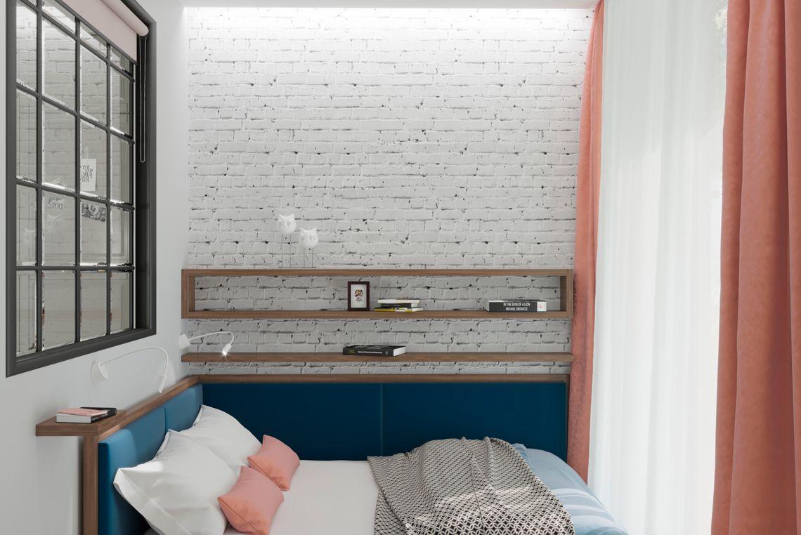Кровать на фоне белого кирпича
