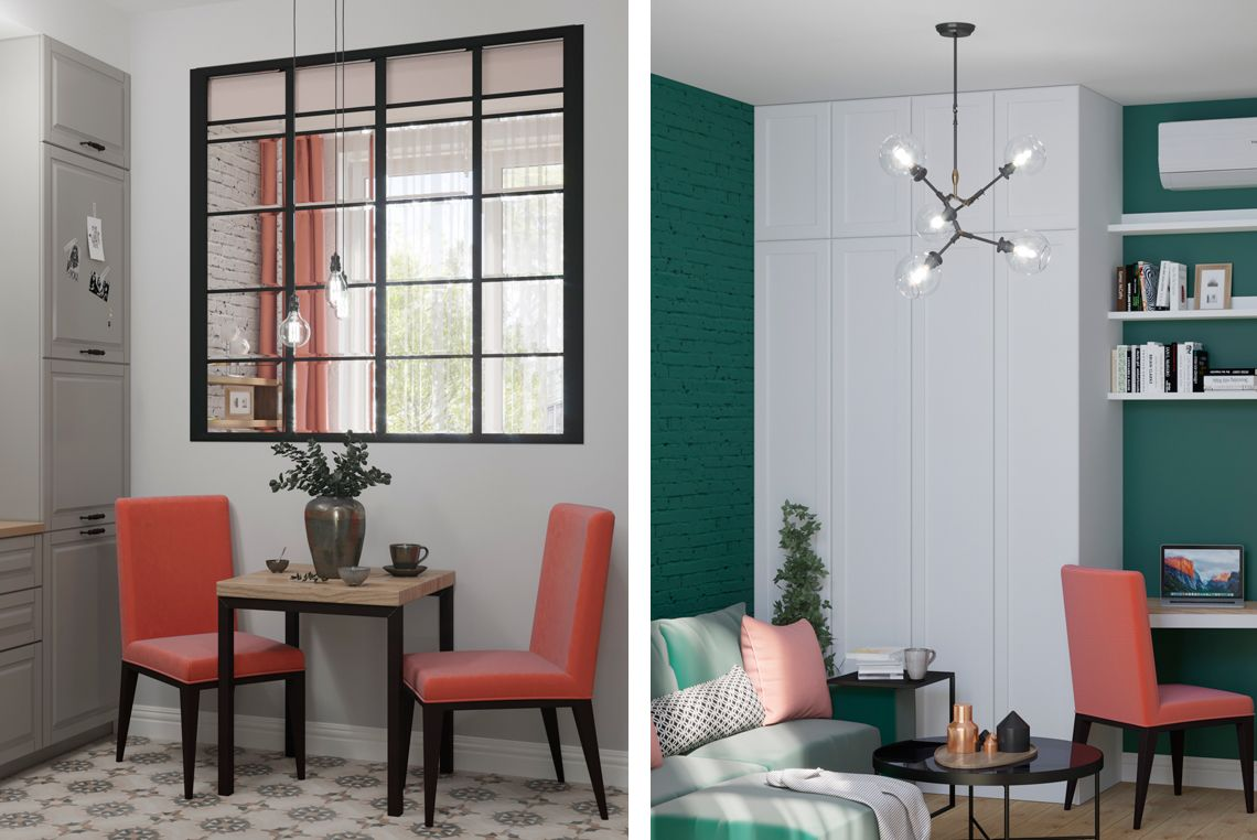 Дизайн столовой зоны и гостиной