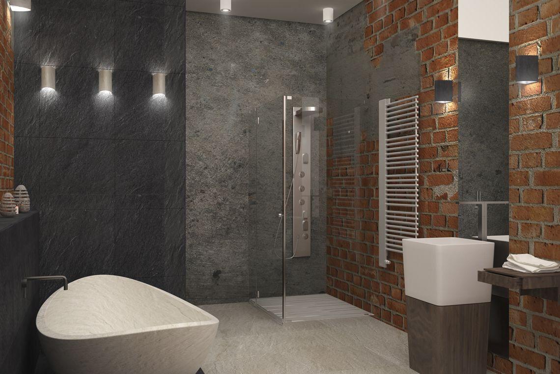 Ванная в стиле лофт, красный кирпич, бетон и зеркало.