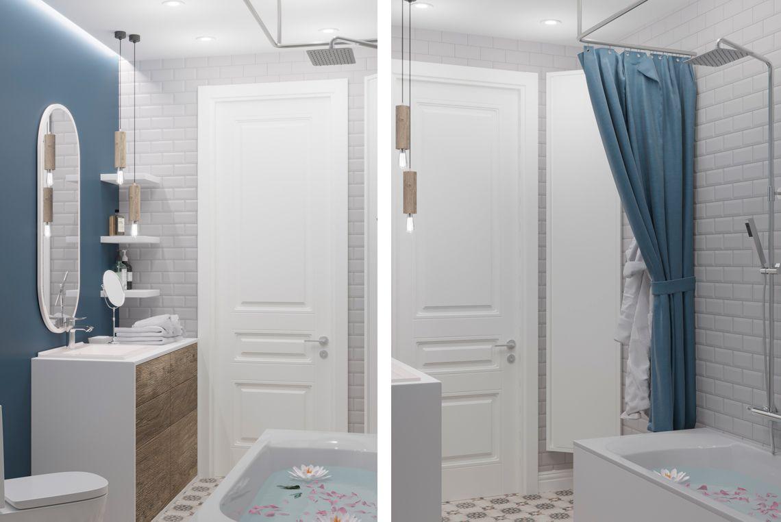 Ванная комната в в синих пастельных тонах