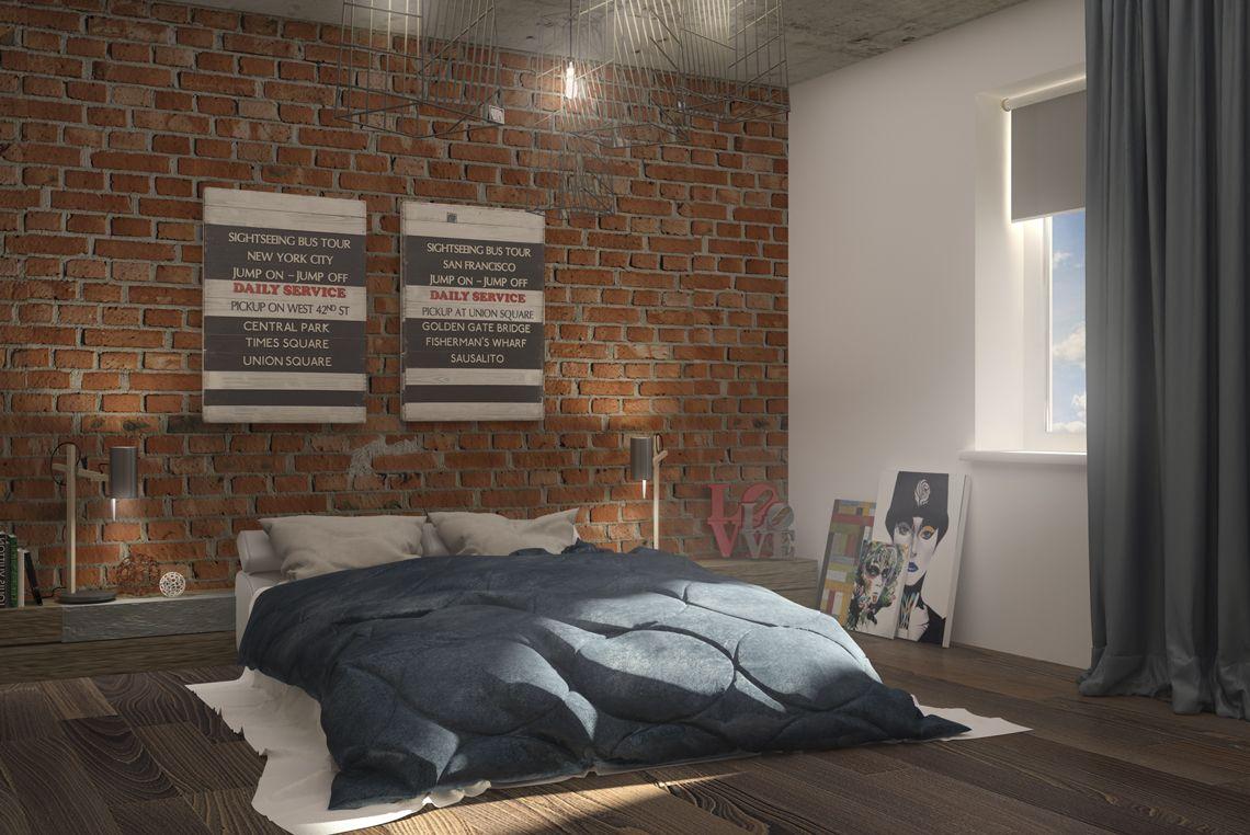 Спальня в стиле лофт, сочетание грубой фактуры и тканей.