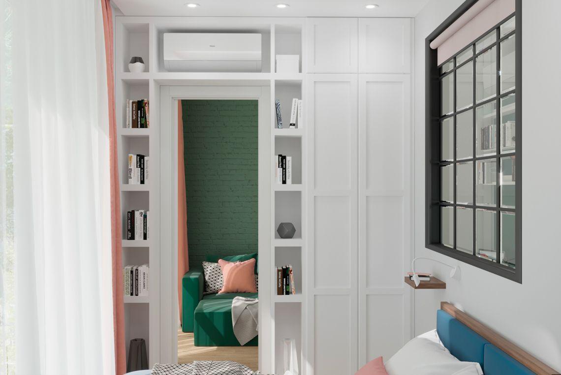 Спальня, вид на гостиную